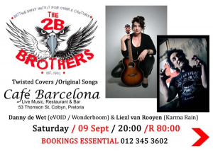 "Catch The ""2B"" Brothers Live at Cafe Barcelona This September"