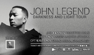 SHEKHINAH announced as JOHN LEGEND support in DURBAN and JOHANNESBURG